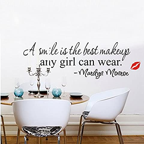 Soledi® a Smile Is the Best Makeup Any Girl Can Wear Marilyn Monroe Wall Decor Decoration DIY Art Kiss Wall Decal Stickers Mural Girls Room Bed (Marilyn Monroe Bedroom Theme)