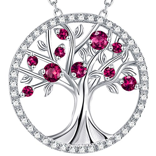 Elda&Co July Birthstone created Red Ruby Necklace Tree of Life Sterling Silver Jewelry Anniversary Birthday Gifts for Mom Women Wife Love Family Girls