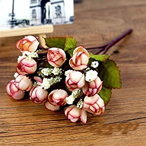 UHBGT Artificial Fake Rose 15 Buds Flower Bush Bouquet for Home Wedding Decoration 77