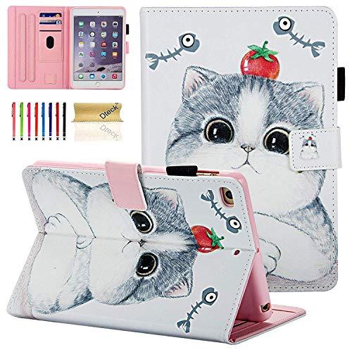 iPad Mini 1 2 3 4 Case, Dteck Slim Fit [Photo Frame & Stylus Slot] Multi-Angle View Stand PU Leather Case with Auto Wake/Sleep Feature Smart Cover for Apple iPad Mini 1/2/3/4, Tomato Cat