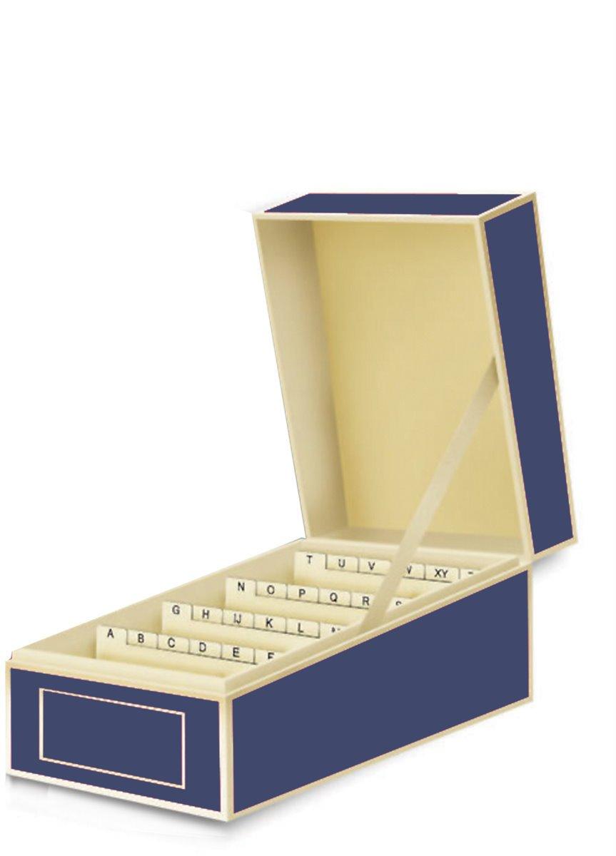 per LA RACCOLTA DI BIGLIETTI DA VISITA qualit/à originale Semikolon Box per biglietti da visita blu marina + +