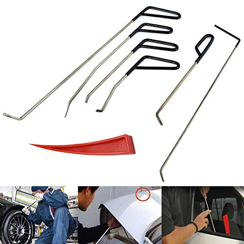 JMgist Auto Paintless Dent Removal Rods Tools Set with Red Wedge Dent Repair Kit for Car Body Hail Damage Door Dings Repair (7pcs)