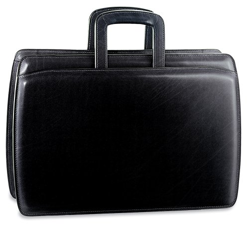 Jack Georges Mens [Personalized Initials Embossing] Elements Slim Leather Briefcase in Black by Jack Georges