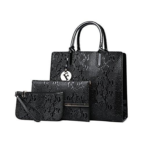 Tisdaini Mujer bolso de mano PU piel moda 3pcs set bolso bandolera+bolsos de+billetera Negro