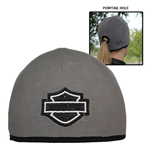 Harley-Davidson-Womens-Studded-Blank-BS-Ponytail-Hole-Knit-Cap-Gray-KN104880