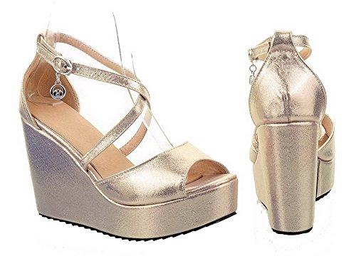 Amoonyfashion Donna Open Peep Toe Tacco Alto Zeppa Piattaforma Pu Materiale Morbido Sandali Solidi Con Fibbia Oro