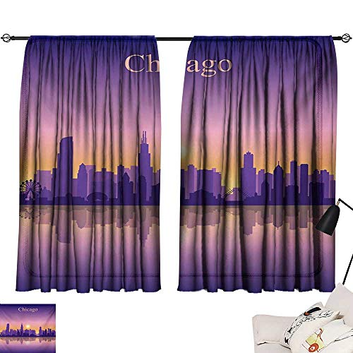 Davishouse Chicago Skyline Thermal Curtains Sunset in Illinois American Horizon Behind High City Silhouettes Privacy Protection