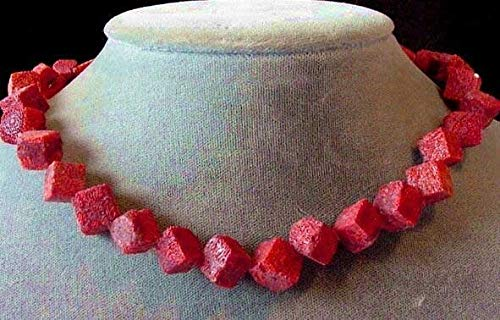 (Diagonal Cube Red Sponge Coral Bead Strand 104582)