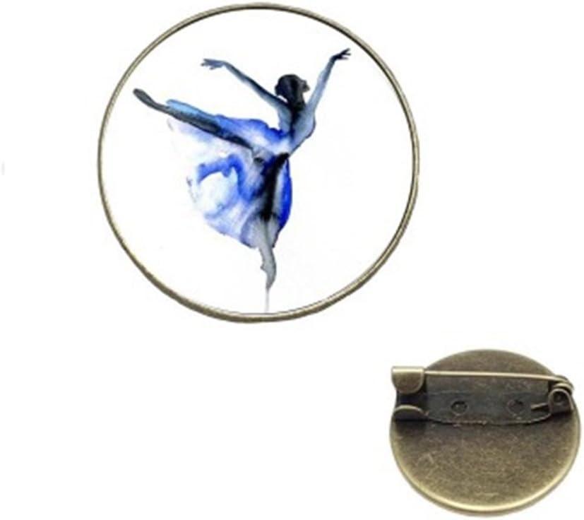 PrutX Der Schmuck der Netten Knopf-Abzeichen-Fraue Tanzende Kunst Exquisite Vintage Broschen Button Abzeichen 25mm Pin