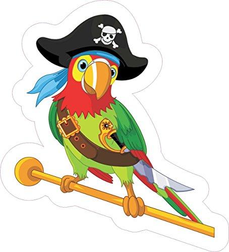"5"" x 4.25"" Pirate Parrot Bumper Sticker Decal Vinyl Car Window Stickers Decals"