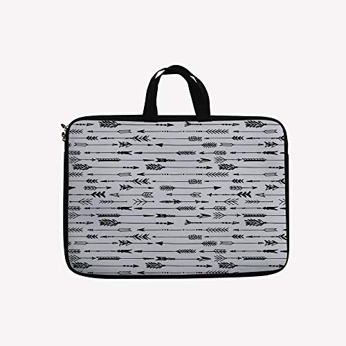 - 3D Printed Double Zipper Laptop Bag,Vintage Decorative Artwork in Drawing Effect,10 inch Canvas Waterproof Laptop Shoulder Bag Compatible with 9.7