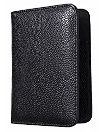 Vedicci® Porta Pasaporte / Passport Holder / Funda para Pasaporte de Piel Genuina. Disponible en Color Negro, Café y Rojo. Cartera / Billetera / Estuche de Viaje para Pasaporte y Visa. Regalo Para Papa. Black Leather Passport Holder. Passport Cover.