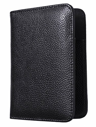 Vedicci® Porta Pasaporte / Passport Holder / Funda para Pasaporte de Piel Genuina Color Negro. Cartera / Billetera / Estuche...