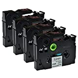 12Mm Label Printer - Greencycle 4 PK Compatible TZ231 TZe231 TZ-231 Label Tape 12mm Black on White for Brother P-Touch Printers - 12mm wide 8m Length 1/2