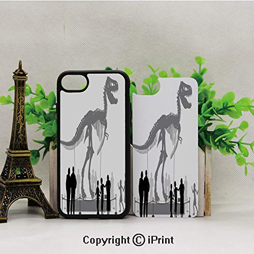 (iPhone 8 Case,iPhone 7 Case,Silhouettes-of-People-Looking-at-a-Tyrannosaurus-Rex-Skeleton-in-a-Museum-Decorative,Lining Hard Shell Shockproof Full-Body Protective Case Cover)