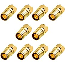Cable Matters 10-Pack, Gold Plated F-Type Crimp-On Coaxial RG6 Connector