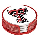 Thirstystone VTXTCH-HA24 Stoneware Drink Coaster Set with Holder, Texas Tech