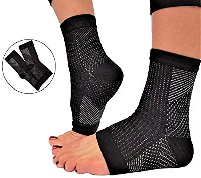 Plantar Fasciitis Sleeve Compression Socks for Men and Women - Heel Arch Ankle Support for Day or Night Foot Pain by RiptGear