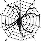 Giant 5 Foot Spider Web with Giant Spider Spooky Indoor and Outdoor Halloween Decoration