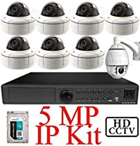 USG 5MP IP PTZ CCTV Kit: 1x 8 Ch @ 5MP NVR + 1x 1080P IP PTZ 4.7-47mm Speed Dome Camera + 7x 5MP IP PoE 2.8-12mm Dome Cameras + 1x 3TB HDD *** Ultra High Definition Video Surveillance For Your Home or Business!