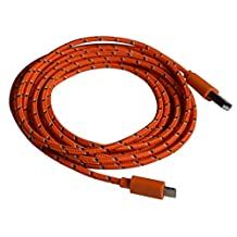 Textile braided 3 meter charging cable data cable USB charging cable -iOS9 compatible- for Apple iPhone SE, 6s / 6s Plus / 6 / 6 Plus / 5 / 5S / 5C, iPad 4 / mini / 5 Air, Pro, iPod Touch 5G, iPod Nano 7G / orange of OKCS