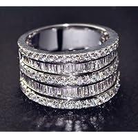 Siam panva Women Jewelry 925 Silver Natural White Sapphire Wedding Bridal Ring New Sz 6-10 (6)