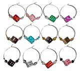 Dice Wine Charms with Pouch - 1 Dozen