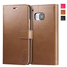 TUCCH HTC One M9 Case Leather Case for HTC One M9, Flip Book Wallet Case, Magnetic Folder with Kickstand Function, Credit Card Slots(Brown and Dark Blue)