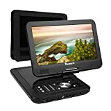 10.1 Inch Portable HD DVD Player USB/SD with 5-Hour Built-In Rechargeable Battery Swivel Screen and Headrest Mount Case