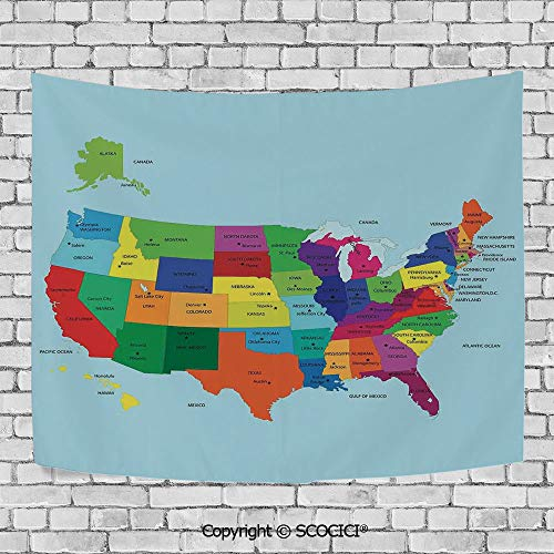 SCOCICI Popular Flexible Hot Tapestries Privacy Decoration,Kids,Educational Map of America USA with States and Capitals City Texas New York Printed Art Decorative (Show India Map With States And Capitals)