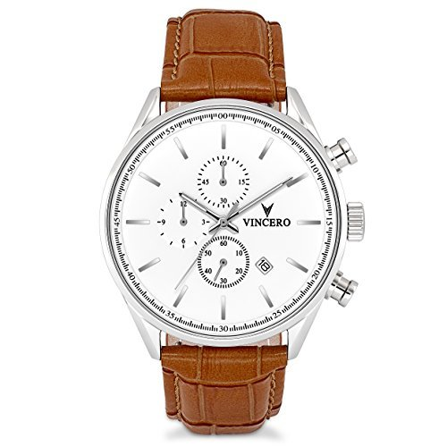 Rubber Chrono Strap (Vincero Luxury Men's Chrono S Wrist Watch — Silver with Tan Leather Watch Band — 43mm Chronograph Watch — Japanese Quartz Movement)