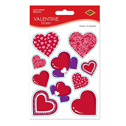 Valentine Stickers Party Accessory (1 count) (4 Shs/Pkg) ()