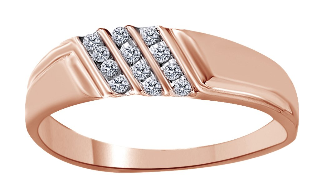 White Natural Diamond Wedding Anniversary Band Ring in 10k Solid Rose Gold (0.12 Cttw) Ring Size - 11