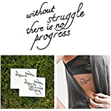Tattify Inspirational Quote Temporary Tattoo - Progress (Set of 2)