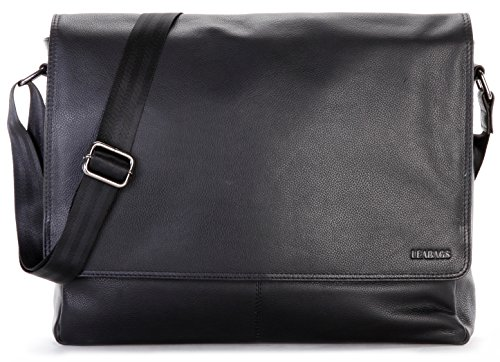 LEABAGS Oxford - Messenger Bag Briefcase Laptop Bag 13 Inch Genuine Leather - - Leather Bag Genuine Belt Usa