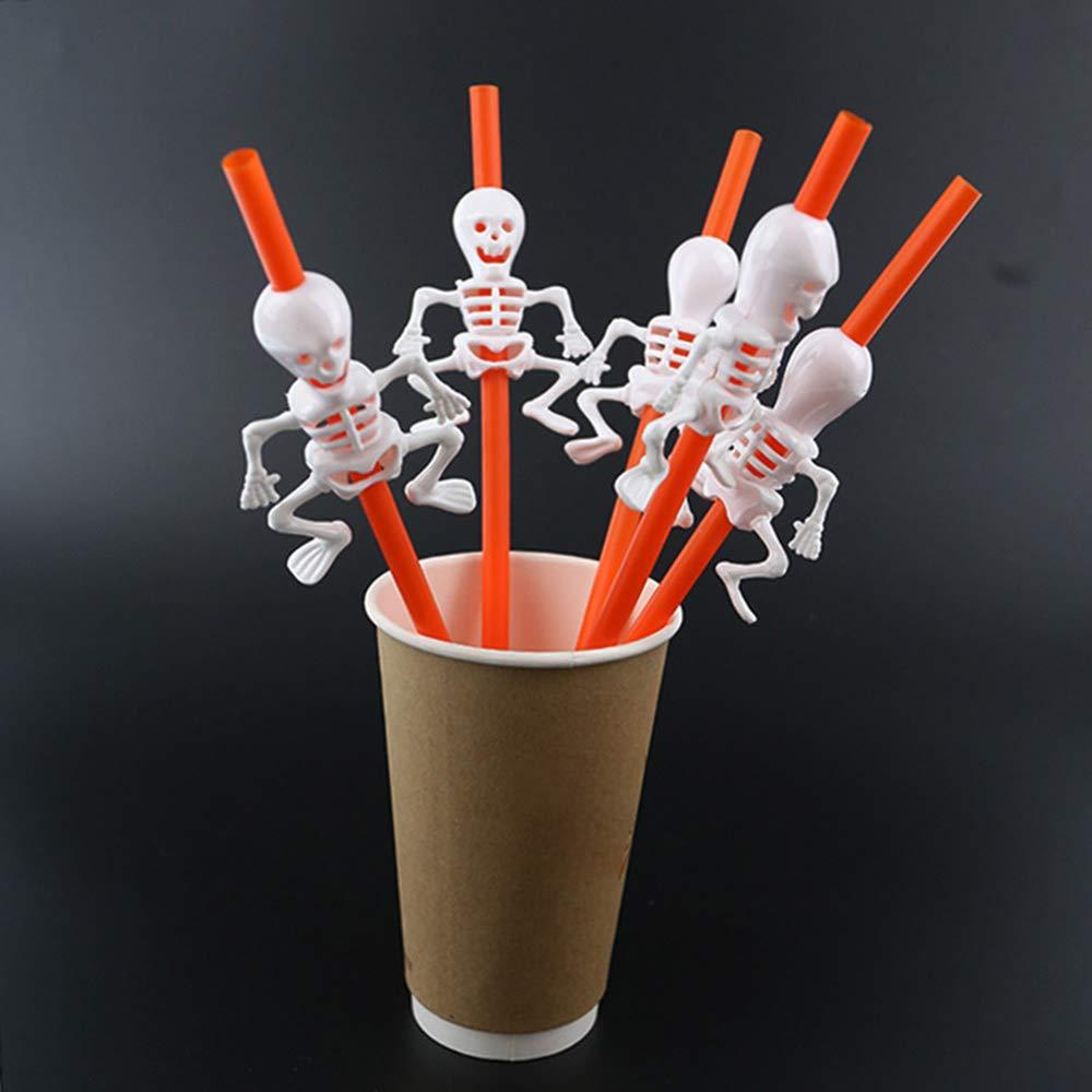 Esonbuy Halloween Plastic Straws Pumpkin Straw Ghost Straw Bar KTV Drink Shop Halloween Drink Set