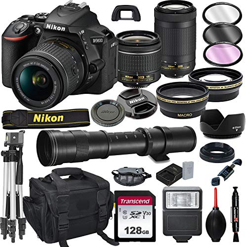 Nikon D5600 DSLR Camera with 18-55mm VR and 70-300mm Lens Bundle with 420-800mm Preset f/8 Telephoto Lens + 128GB Card, Tripod, Flash, and More (23pc Bundle)