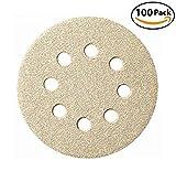 5-Inch 8-Hole Dustless Hook-and-Loop Sanding Disc Sander Paper, 100 Per Box (20 Each of 60 80 120 150 220 Grits)