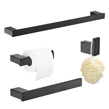 Klabb B58 4-Piece ss304 Bathroom Hardware Accessory Set with 24  Towel Bar -Matte Black