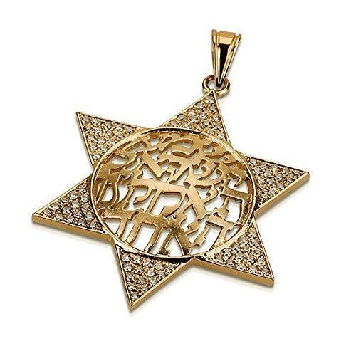Domed Shema Israel Diamond Star of David Pendant in 14k Gold