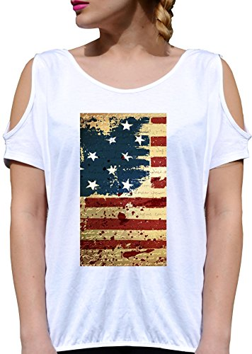 T SHIRT JODE GIRL GGG27 Z1390 AMERICAN FLAG VINTAGE STARS STRIPES FUNNY FASHION COOL BIANCA - WHITE XL