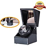 [Carbon New Style] Love Nest Carbon Fiber Wood Single Automatic Watch Winder Box Piano Finish Japanese Mabuchi Motor(power included)