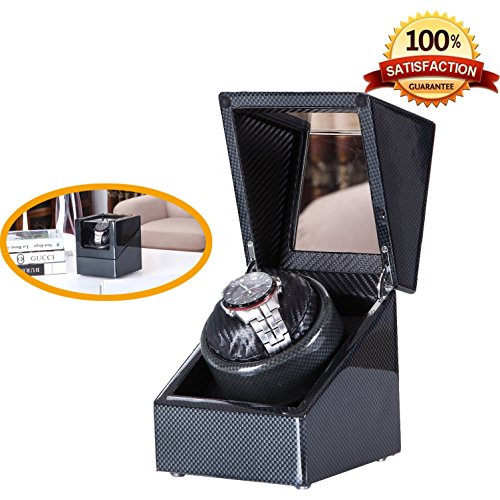 [Carbon New Style] Love Nest Carbon Fiber Wood Single Automatic Watch Winder Box Piano Finish Japanese Mabuchi Motor(power included) by LN LOVE NEST (Image #6)