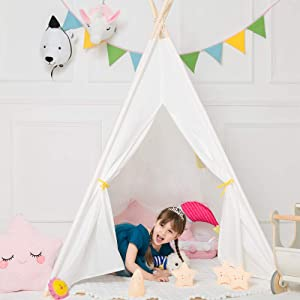 ODE-KIDS Teepee Tent Yellow Window, Upgraded Playhouse Boys Indian Tent Tepee with Lights Banners Instruction for Home Decor Kids Creative Time (Vibrant Yellow Window)