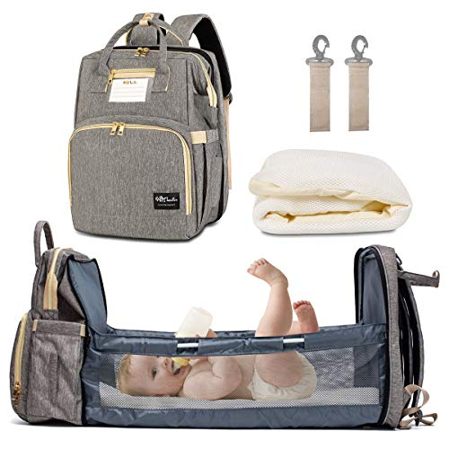 Diaper Bag Backpack with Auto Folding Crib, Portable Sleeping Mummy Bag include Insulated Pocket, Multi-Functional Baby…