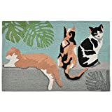 "Liora Manne FT112A94604 Whimsy Lazy Cats Rug, 20""x 30"", Aqua"