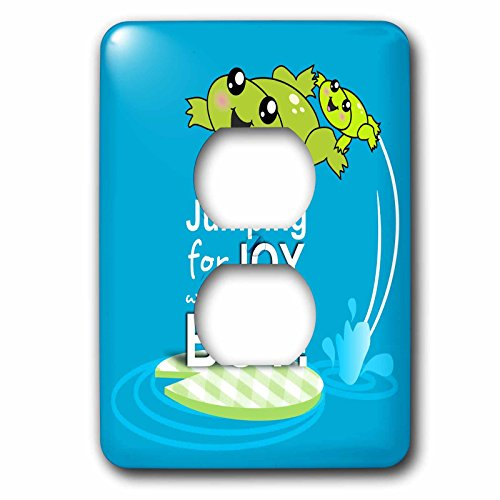 (3dRose LLC lsp_120313_6 Jumping for Joy Having A Boy Cute Green Frog Blue Baby Shower Its A Boy Kawaii Frogs Announcement 2 Plug Outlet Cover)