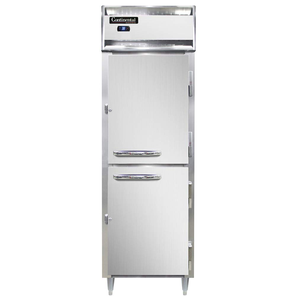 Continental Refrigerator DL1RS-SS-HD Designer Line Single Section Reach in Refrigerator, Shallow Depth, Full Stainless & Half-Height Doors