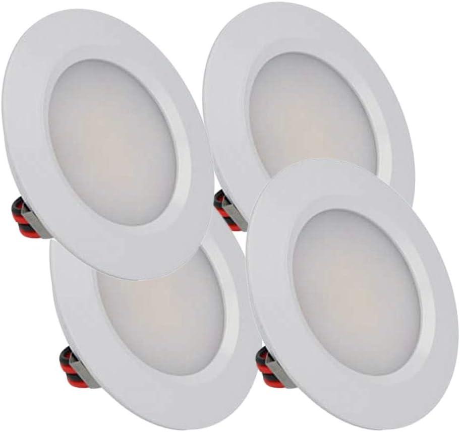 LEDLUX - Mini foco LED empotrable redondo Slim 3 W DC 12 V 24 V Orificio 50 mm para luces de cocina, baño o caravana (blanco, 3000 K)