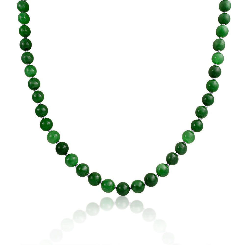 Bling Jewelry Dyed Green Jade Beaded Sterling Silver Necklace 20 Inches SNL-NL011-5
